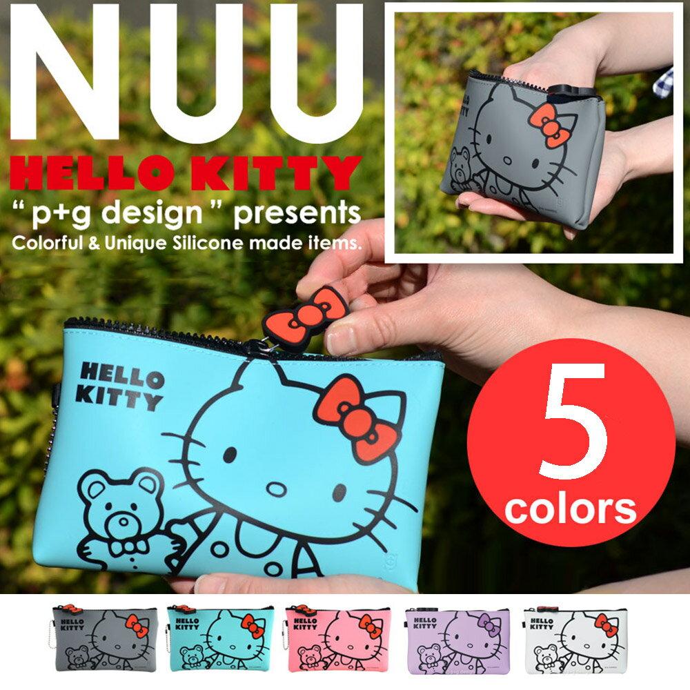 日本進口 p+g design NUU X HELLO KITTY 繽紛矽膠拉鍊零錢包 - 粉紫灰綠白5色可選 2