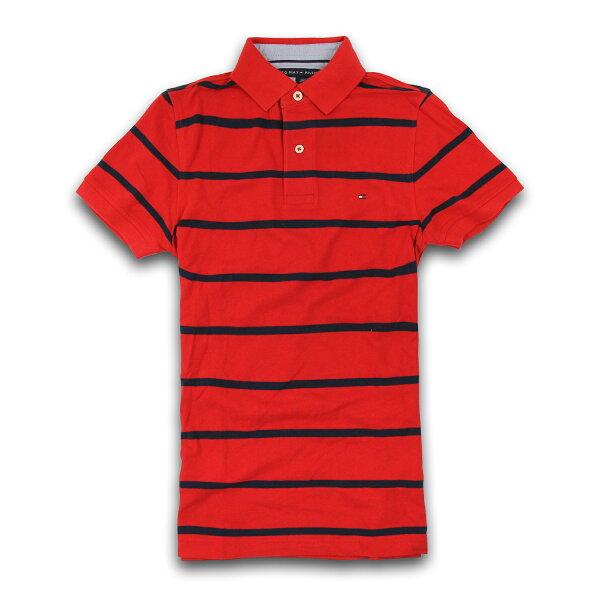 美國百分百【Tommy Hilfiger】Polo衫 TH 短袖 網眼 上衣 條紋 紅色 深藍色 XS號 F190