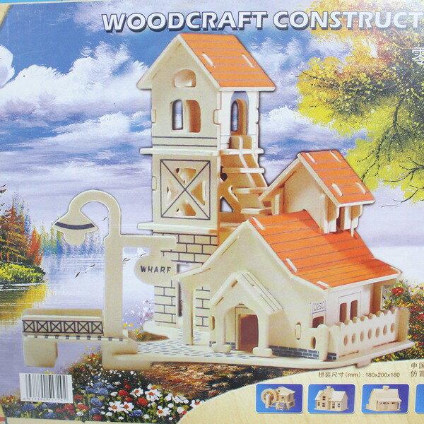 DIY木質拼圖 3D立體拼圖 立體模型屋(G-P266江岸小提屋.大2片入)/一組入{定99}~四聯木質拼圖 組合式拼圖