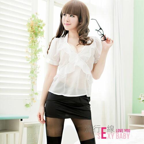 大尺寸角色扮演性感OL女秘書~透膚性感COSPLAY派對服XL*流行E線A124