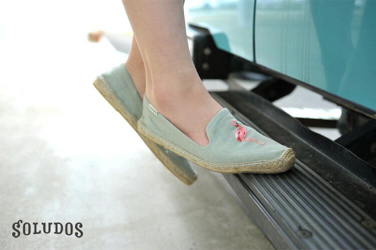 【Soludos】美國經典草編鞋-塗鴉系列草編鞋-青色火烈鳥 3