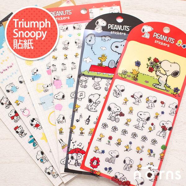NORNS【Triumph Snoopy 貼紙】正版 史努比 查理布朗 糊塗塔克 平面透明貼紙 行事曆手帳貼紙