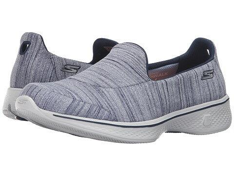【米迪美國時尚小舖】SKECHERS 女款最新款 GOwalk4 瑜珈墊 健走鞋 超輕量 深藍色 14149NVGY