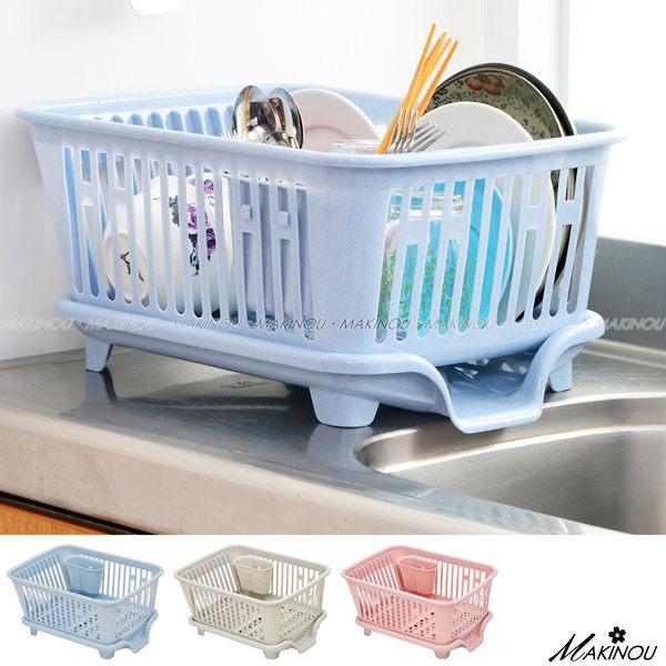 餐具碗盤架『日本MAKINOU好用瀝水收納碗籃』台灣製 碗筷架 牧野丁丁
