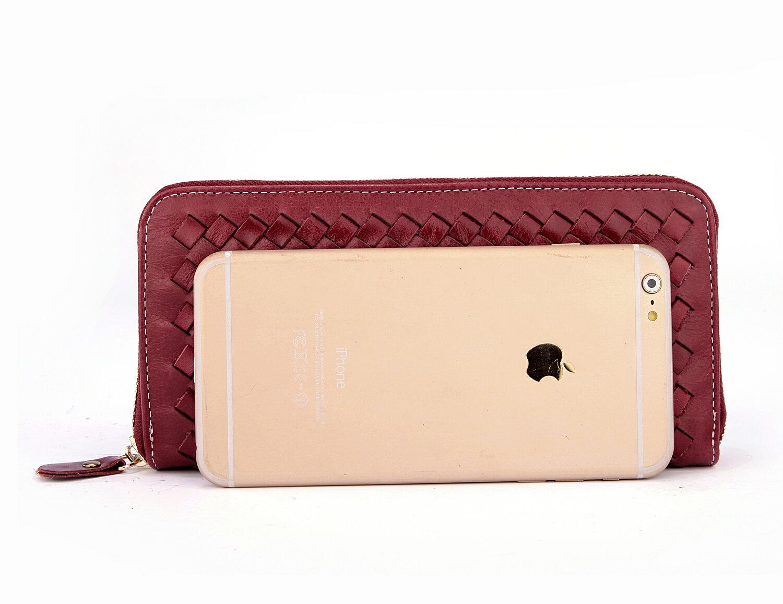 【BEIBAOBAO】法式 編織真皮時尚皮夾(甜莓紅) 1