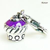 ~^~Rinco^~~銀漾童趣 紫色小蛋糕925純銀手鍊吊飾^(不含鍊^)