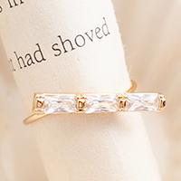 ☆~Rinco~☆秋光扉頁 英式復刻晶耀傾斜長方鑽飾造型戒指