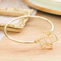 幾何個性立體線構鑽石球扣式手環【B1411024】