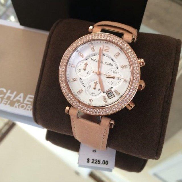 美國Outlet正品代購 MichaelKors MK 真皮水鑽棕色 三環 手錶 腕錶 MK5633 3