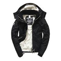 Superdry極度乾燥商品推薦美國百分百【全新真品】Superdry 極度乾燥 風衣 連帽 外套 防風 夾克 刷毛 黑色/白色 女 F855