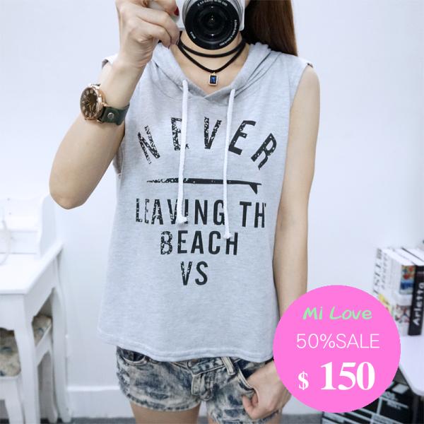 MiLove 夏季韓國學院風時尚字母印花連帽背心