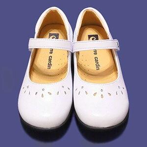 【錢豪童裝童鞋】皮爾卡登pierre cardin 學生白皮鞋
