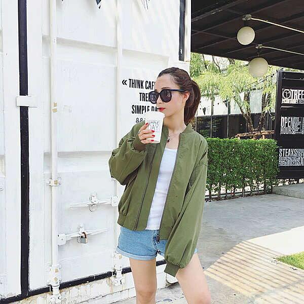 PS Mall 學院風短款夾克棒球服純色立領軍綠色外套【T5000】
