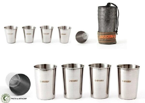 【露營趣】中和 TNR-187 8件不鏽鋼露營套杯 休閒杯組 旅行杯組 不銹鋼杯 燒酒杯 啤酒杯 茶杯