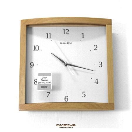 SEIKO精工掛鐘 日系淺咖原木色木質方型弧度鏡面時鐘 滑動式秒針 柒彩年代【NG10】原廠公司貨 0