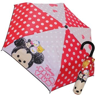 現貨 日本帶回 迪士尼 Tsum tsum紅底圓點兒童折疊傘J手把雨傘 53CM