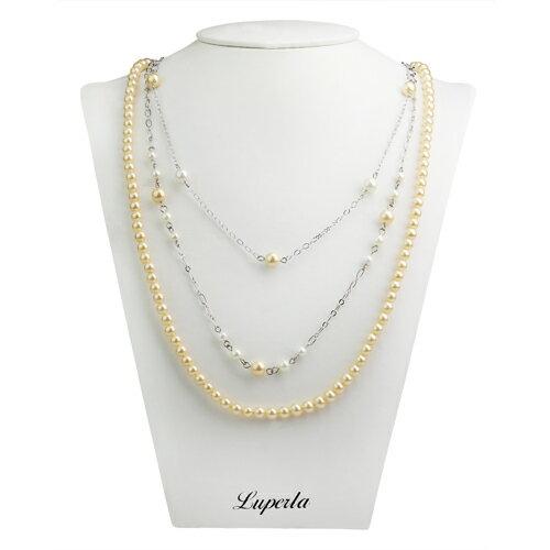 大東山珠寶 3層款式南洋貝寶珠長版項鍊-金 蜜雪兒愛戴款
