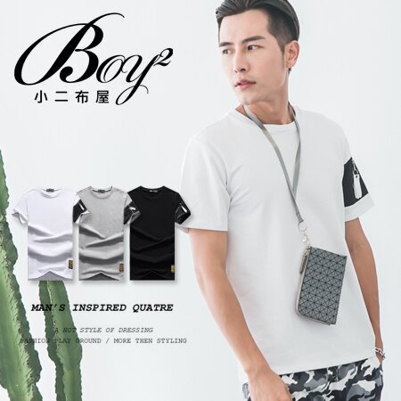☆BOY-2☆【NC3956】韓版素面拉鍊袖口男裝短袖T恤 現+預 0