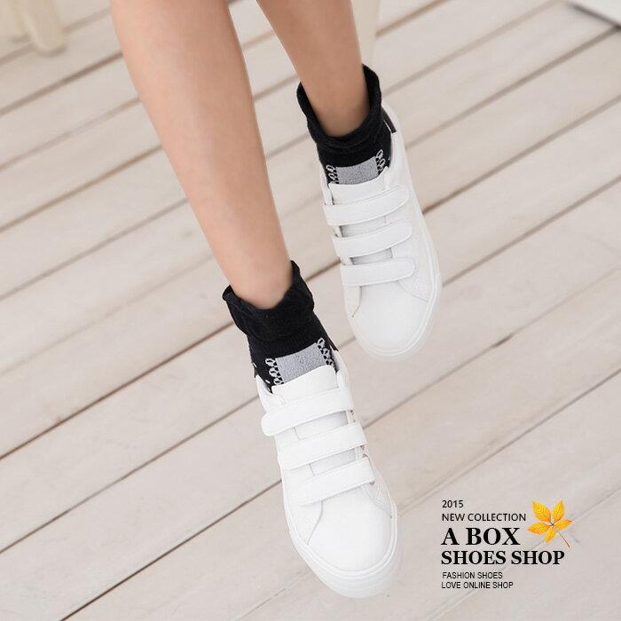 格子舖*【KH6850】基本款百搭 方便時尚魔鬼氈好穿脫 舒適厚底皮革休閒鞋 帆布鞋 3色 1