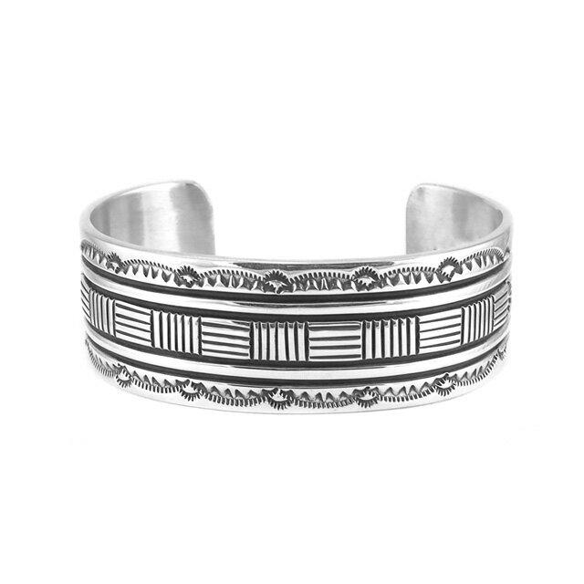 【現貨商品】【Indian Jewelry】印地安圖騰刻印寬版手鐲(Navajo-045-R-10633) 2