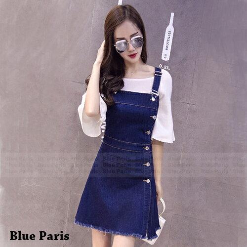 吊帶裙 - 單排釦小口袋下擺毛邊吊帶牛仔裙【29128】藍色巴黎-現貨+預購 0