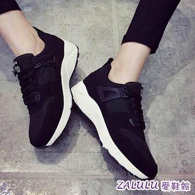 ☼zalulu愛鞋館☼ DE157 雜誌學生必備素面亮眼舒適平底綁帶運動鞋-偏小-黑/玫紅-36-39