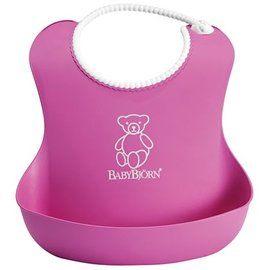 瑞典 Baby Bjorn Soft Bib 軟膠防碎屑圍兜 粉紅色款
