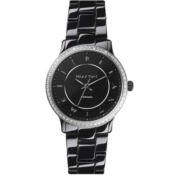 Relax Time  RT-55-9 RT系列迷你纖薄黑銀陶瓷腕錶/黑面30.5mm