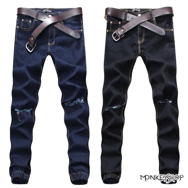 【BJK3843】龐克風膝上刷破單寧牛仔縮口慢跑褲JOGGER PANTS-2色《Monkey Shop》