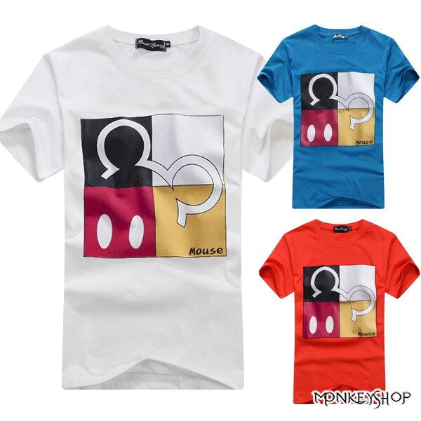 【C3019】MIT純棉男女情侶款米奇四格拼貼潮流短袖T恤-3色《Monkey Shop》