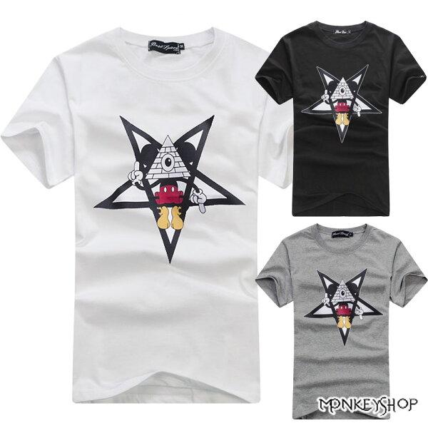【C3035】 MIT純棉男女情侶款五芒星米奇短袖T恤-3色《Monkey Shop》