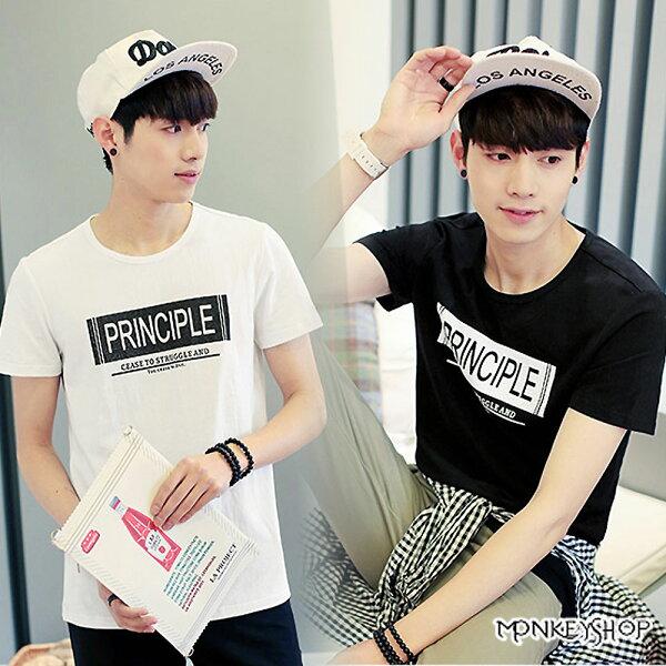 【M60253】 韓版簡約素面PRINCIPLE印花圓領短袖T恤-2色《Monkey Shop》