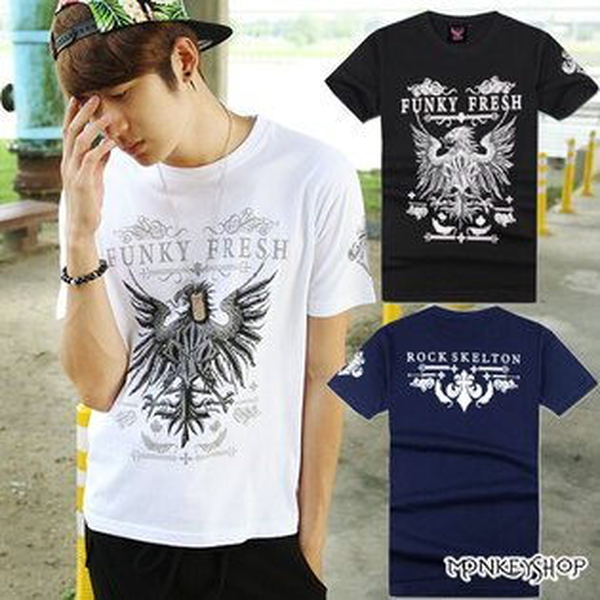 【A73876】MIT復古風老鷹展翅雕花印花圓領短袖T恤-3色《Monkey Shop》