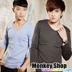 《Monkey Shop》【BJJ8515】潮流風格 型男首選 韓版素面麻花V領長袖T恤上衣-共八色