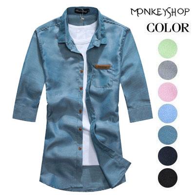 短袖上衣~BJK0009~休閒百搭 皮標時裝馬卡龍色系七分袖襯衫 7色~Monkey Sh