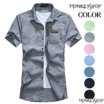 短袖上衣~BJK0012~休閒百搭 皮標時裝馬卡龍色系短袖襯衫 8色~Monkey Sho