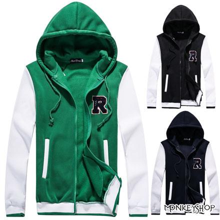 【BJK3062】韓版毛線字母R字設計連帽棒球外套-3色《Monkey Shop》