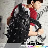 《Monkey Shop》【BNA337】潮流指標 經典實搭 皮質大刺蝟造形設計多功能背帶後背包 黑色