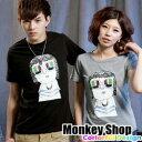 《Monkey Shop》【C12045】MIT 潮流新指標 電捲嘻哈彩色3D眼鏡短T-共三色