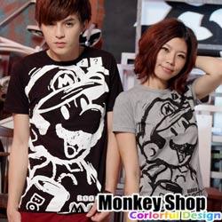 《Monkey Shop》【C12060】 經典實搭 街頭流行款 滿版塗鴉MARIO印花短T-共三色