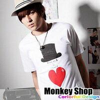 《Monkey Shop》雜誌推薦款 簡約百搭 都會雅痞紳士帽及愛心印刷圖案短T