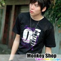 《Monkey Shop》街頭潮流玩家經典印花 燙銀潑漆紫OF字母短袖T恤.黑/白  人氣賣家商品