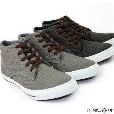 《Monkey Shop》【FTP48】韓版設計高統斜紋休閒鞋 帆布材質萬年不敗 就愛MIT台灣製 2色