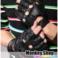 《Monkey Shop》羅志祥 箇中高手廣告款合成皮半截手套 龐克 搖滾 露指皮革手套
