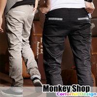 《Monkey Shop》【JB9888】韓潮極簡SKINNY 窄版煙管海軍直紋反折休閒長褲 6色