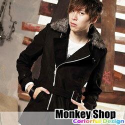 《Monkey Shop》【LVS570】專款熱賣款 潮流款式 騎士毛領腰帶毛呢大衣-共二色