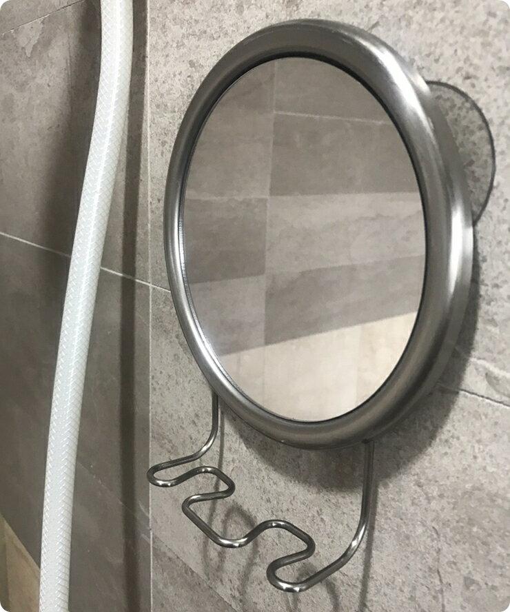 【凱樂絲】浴室吸盤不鏽鋼防霧化妝兩用鏡, 可掛刮鬍刀, 沐浴球 不需鑽孔或打洞, 不損害牆面, 可吸附於磁磚表面, 易安裝 1