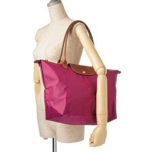 [1899-M號] 國外Outlet代購正品 法國巴黎 Longchamp 長柄 購物袋防水尼龍手提肩背水餃包紫色 4