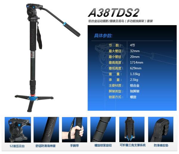 【BENRO百諾】 A38TDS2 油壓雲台單腳架套組 送原廠腳架袋 勝興公司貨