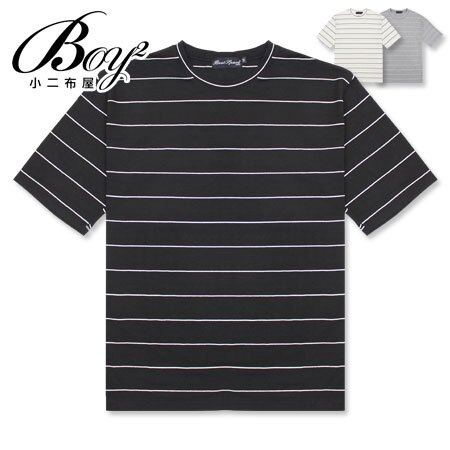 ☆BOY-2☆【NC6822】無印風休閒條紋短袖T恤 0